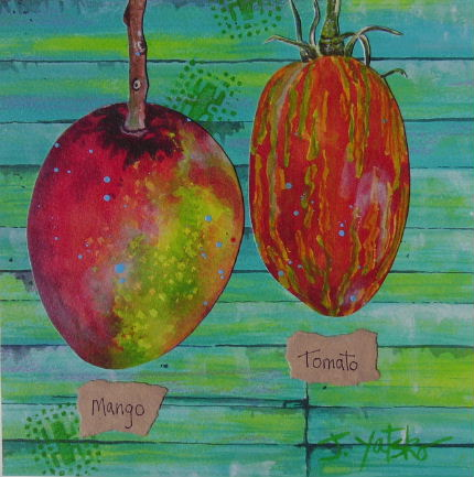 Costa Rican mango and a striped roma heirloom tomato painting by artist Jan Yatsko