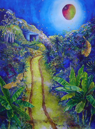 Acrylic painitng of pathway leading to house in tropical mountains with shining mango moon by artist Jan Yatsko, resident of Costa Rica