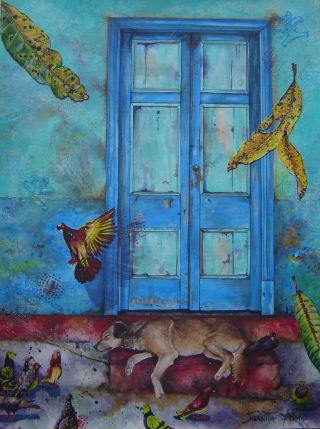Mixed media acrylic painitng of dog sleeping on doorsteps in San Jose, Costa Rica with pigeons around him contemplating whether they should scare him, by artist Jan Yatsko, resident of Costa Rica