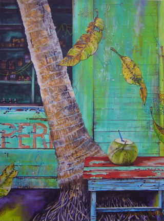 Acryic painting of coconut palm and coconut (pipa) cut to drink with mango leaves, painted by Aritst Jan Yatsko