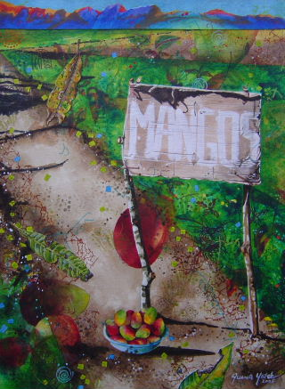Acrylic painting of cardboard, Mangos for Sale, sign along road to Jaco, Costa Rica, art by Jan Yatsko