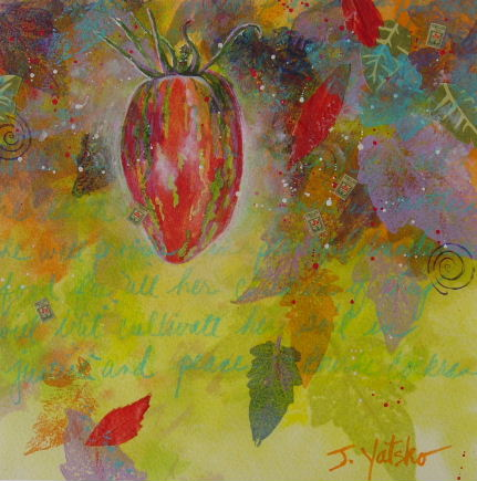 Striped roma heirloom tomato painting depicting small tomato at end of season by artist Jan Yatsko