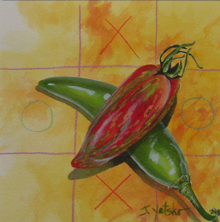 Jalapeño pepper and striped roma heirloom tomato painting by artist Jan Yatsko