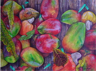 Acrylic painting of Mangos and cashew fruit found at outdoor farmers market in Atenas, Costa Rica, Painting by Jan Yatsko