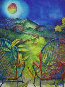 Acrylic painting of traditional Costa Rican woven rocking chairs overlooking mountains and mango moon in night sky, by artist Jan Yatsko, resident of Atenas, Costa Rica
