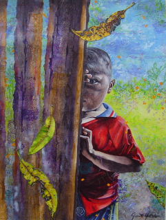 Mixed media acrylic painting of Costa Rican Maleku Indian boy peeking from behind old wooden building, by artist Jan Yatsko