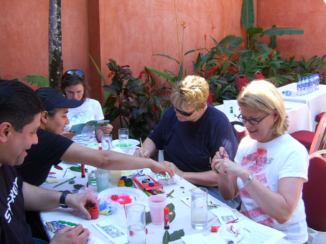 Participants in postcard workshop from incentive travel group, held at Los Sueños Resort, Playa Herradura, Costa Rica