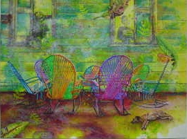 Acrylic painting of group of traditional Costa Rican woven rocking chairs, Art by Jan Yatsko