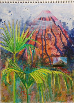 Journal page of Arenal volcano by Jan Yatsko.  Volcano image done by memory.